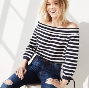 J CREW IVORY WHITE STRIPE OFF SHOULDER TOP LONG LS